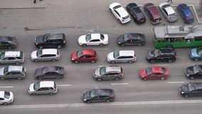 Traffic jam in the city. Top view stock video