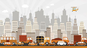 Traffic jam in the city. Vector illustration of traffic jam in the city royalty free illustration
