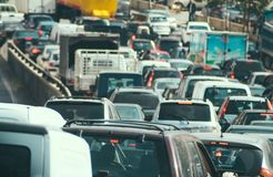 Traffic jam collapse. Cars on highway Royalty Free Stock Photography
