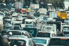 Traffic jam collapse. Cars on highway royalty free stock photo