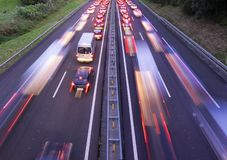 Traffic jam collapse. Cars on highway al sunset royalty free stock photos