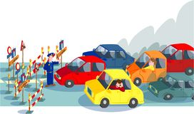 Cars in road block Stock Photo