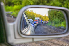 Traffic jam on country highway Royalty Free Stock Images