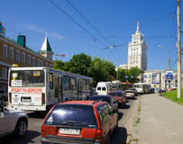 Traffic jam at the crossroads of the Revolution Avenue royalty free stock image