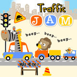 Traffic jam. Cute animals on vehicles at traffic jam , vector cartoon illustration. EPS 10 royalty free illustration