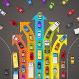 Traffic jam with directional arrows. Vector illustration Royalty Free Stock Photography