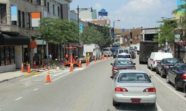 Traffic jam. Downtown traffic jam in construction zone Royalty Free Stock Photos
