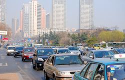 Traffic jam, downtown of the Dalian. Stock Photos