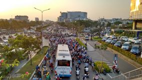 Traffic jam due to dense traffic in Ho-Chi-Minh-City Stock Photo