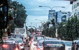 Traffic Jam. At evening  feeling bored Royalty Free Stock Photo