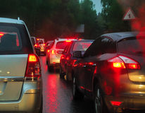 Traffic jam in evening Royalty Free Stock Photography