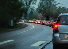 Traffic jam in evening Stock Image