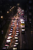 Traffic jam at evening on a street in Kracow city in Poland. Stock Photography