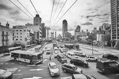 Traffic jam on the exit from the Ed Koch Queensboro Bridge. stock image