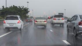 Traffic jam on express way in rainning day Royalty Free Stock Image