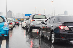 Traffic jam on express way in rainning day Stock Images