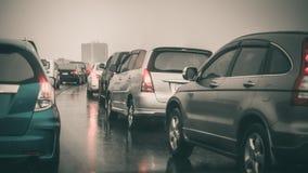 Traffic jam on express way in rainning day Stock Photo