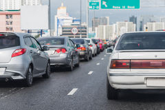 Traffic jam on express way in rush hour Royalty Free Stock Photo
