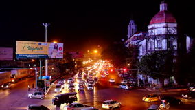 Traffic jam in the former capital Yangon at night in Myanmar stock video footage