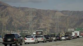Traffic jam on a freeway stock video