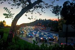 A traffic jam on Friars Road in San Diego. royalty free stock photos