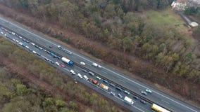 Traffic jam on German highway stock footage
