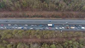 Traffic jam on German highway stock video