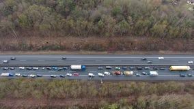 Traffic jam on German highway stock video footage