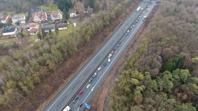 Traffic jam on German highway stock footage