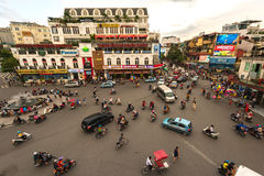 The traffic jam at Hanoi old quarter Royalty Free Stock Photo