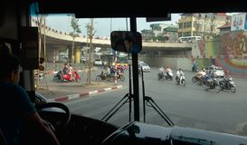 The traffic jam at Hanoi. View of the bus driver in the streets of Hanoi - Vietnam Stock Images