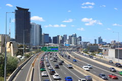 Traffic jam Melbourne cityscape Stock Photo