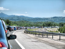 Traffic jam on the highway. Summer season traffic jam on the highway Stock Photography