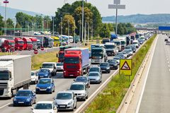 Traffic jam on highway. Non-functioning emergency lane in a traffic jam on a highway royalty free stock images