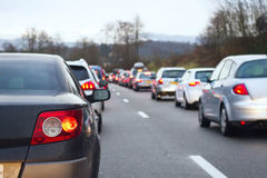 Traffic jam. On the highway royalty free stock image