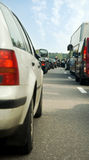 Traffic jam on a highway. In the morning royalty free stock images