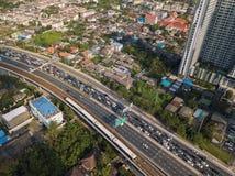 Traffic jam on highway in Bangkok City, Thailand.  stock photos