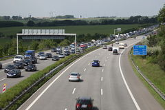 Traffic Jam on the highway in Germany Stock Images