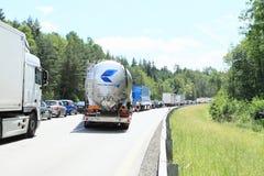 Traffic jam on highway royalty free stock photos