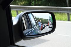 Traffic jam on highway stock images