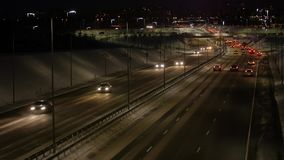 Traffic jam on a highway at night. stock video footage