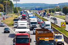 Traffic jam on highway Royalty Free Stock Photo