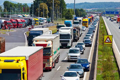 Traffic jam on highway Stock Image
