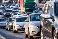 Traffic jam on the highway Stock Photos
