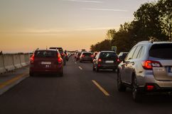 Traffic jam in the highway Stock Photography