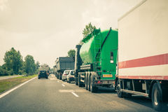 Traffic jam on highway Royalty Free Stock Images