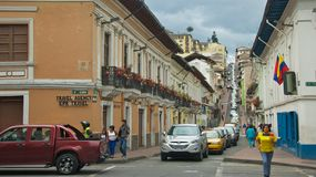Traffic Jam in Historical Quito Stock Photo