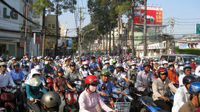 Traffic Jam in Ho Chi Minh City Vietnam Royalty Free Stock Photography