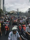 Traffic jam in Ho Chi Minh City, Vietnam. Many motorcycles struck in traffic jam in the morning at Ho Chi Minh City, Vietnam stock image