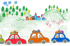 Traffic jam on holidays. Childs drawing family trip Stock Photo